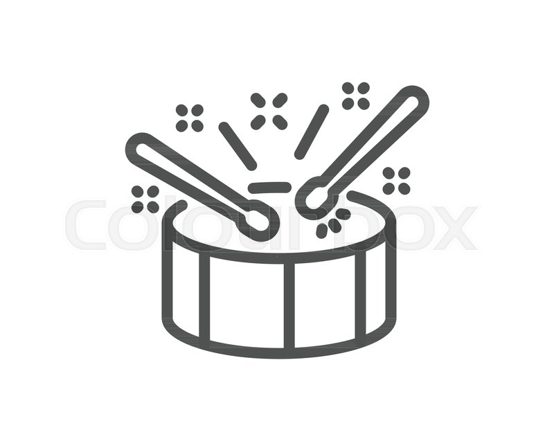 Drums With Drumsticks Line Icon Music Sign Musical Instrument