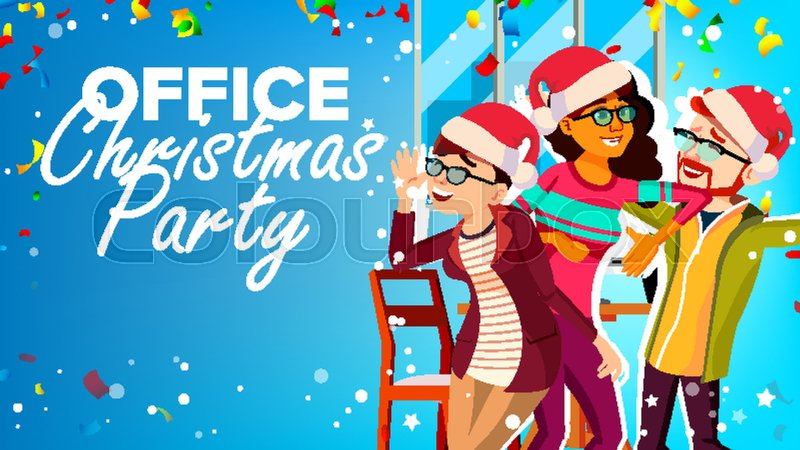 Christmas Party In Office Vector Stock Vector Colourbox