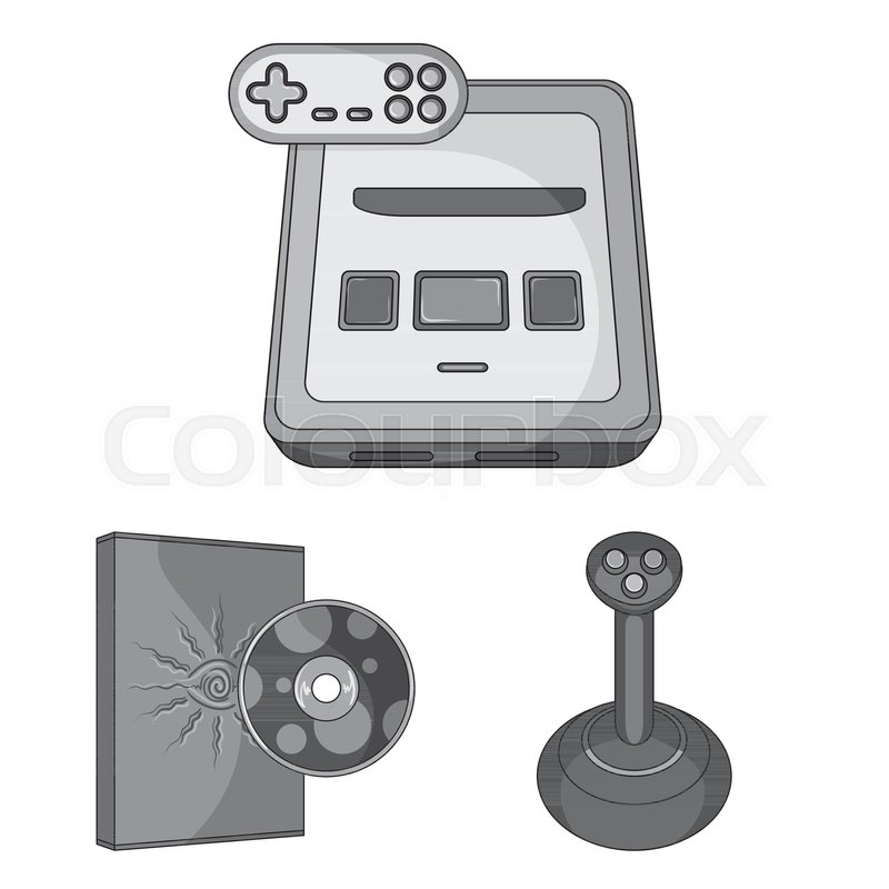 1fae21ba4d4a Game console and virtual reality monochrome icons in set collection for  design.Game Gadgets vector symbol stock web illustration