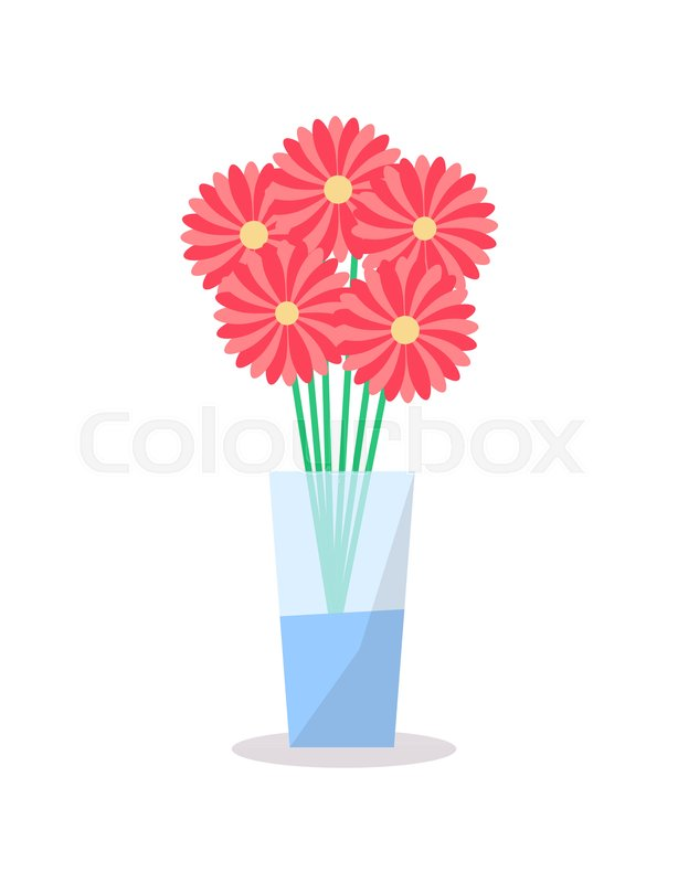 Flowers In Glass Vase Icon Vector Illustration Decorative Element