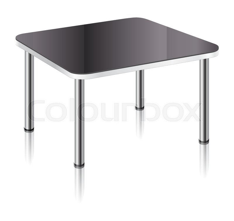 Modern Square Table With Black Glossy Surface, Chrome Table Legs And Mirror  Shadow, Vector