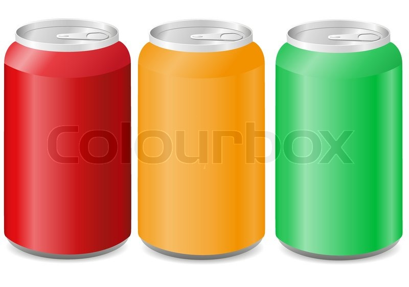 coloured aluminum cans with soda vector illustration stock vector
