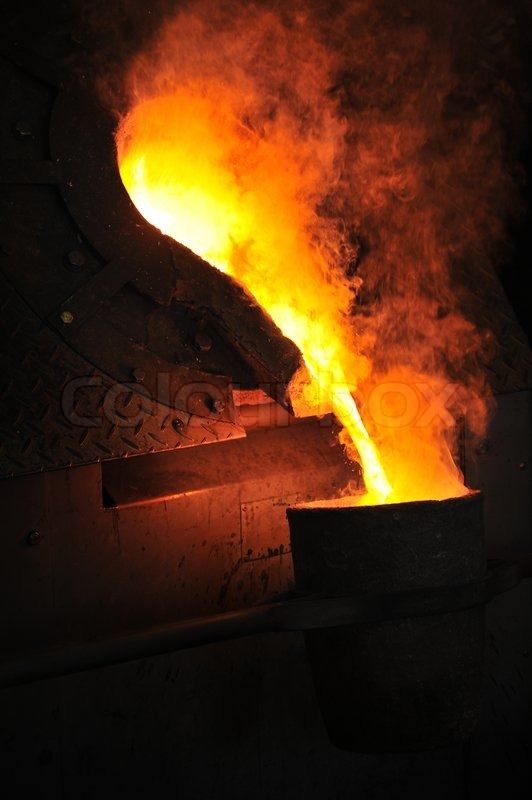 Foundry Molten Metal Poured From Ladle For Casting
