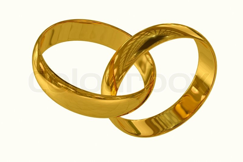 Wedding Rings On A White Background 3d Stock Image