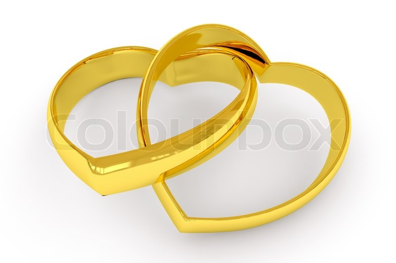 Heart shaped gold wedding rings on white background