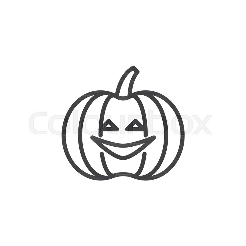 Halloween Pumpkin Outline Icon Linear Style Sign For Mobile Concept