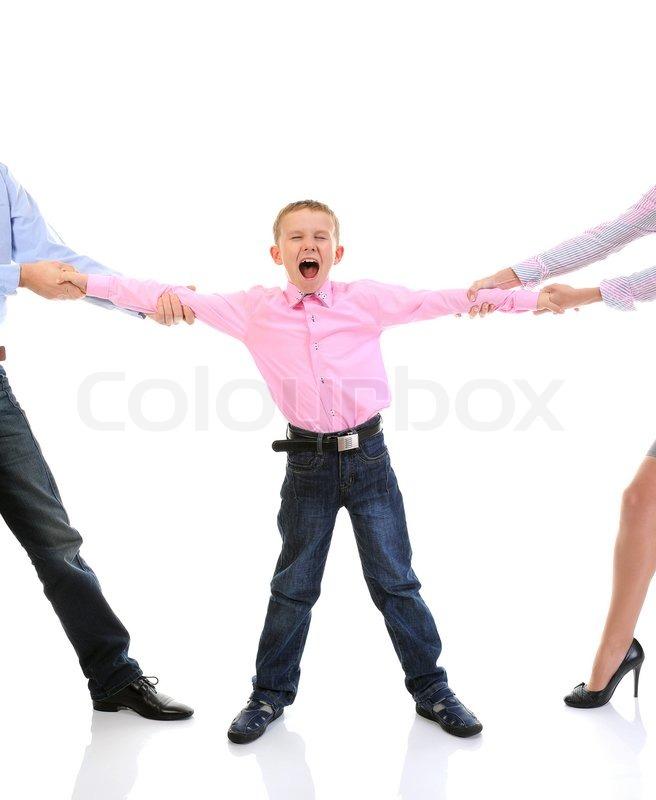 Skandal in der Familie Eltern Aktie Kind auf weißem