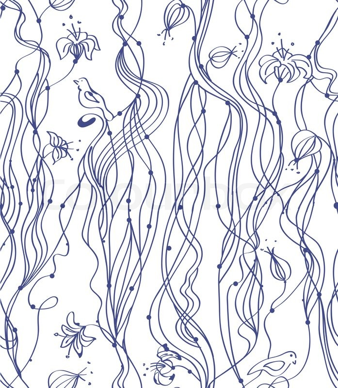Abstract Line Drawing Flowers : Abstract hand drawing seamless pattern with line flowers