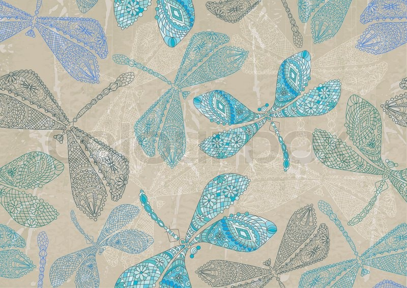 Seamless Pattern With Colorful Dragonfly Can Be Used For