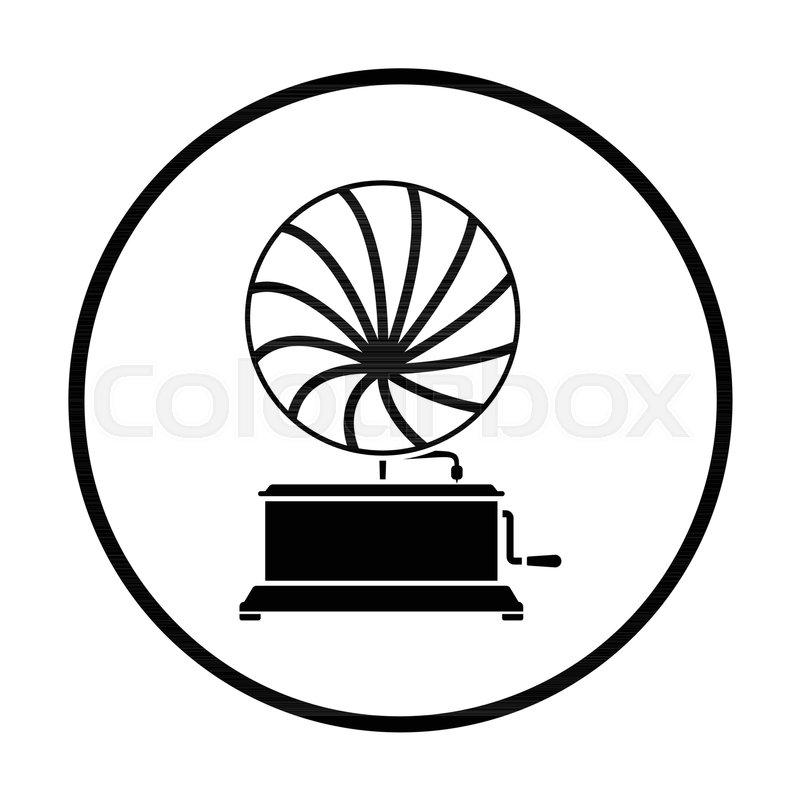 gramophone icon thin circle design stock vector colourbox colourbox