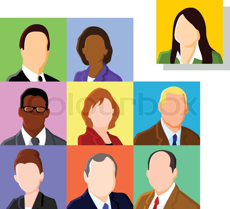 Crowd Of Indian Women Vector Avatars Stock Vector: Business People Avatar Set