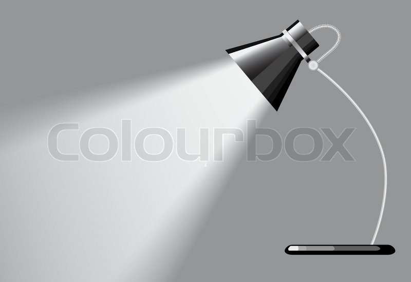 Desk lamp with a grey background, with a empty space under ...