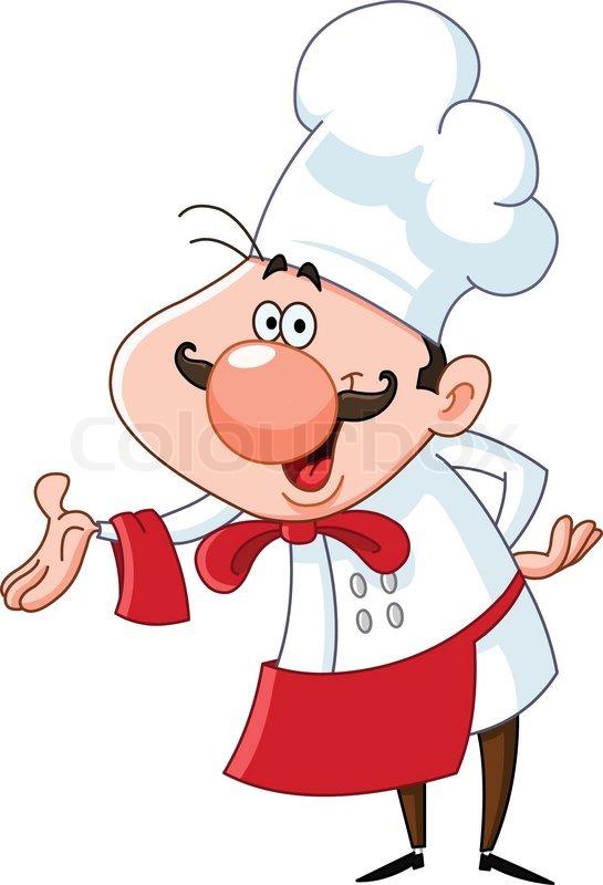 Koch bei der arbeit clipart  Freundliche Koch präsentiert mit seiner Hand | Vektorgrafik | Colourbox
