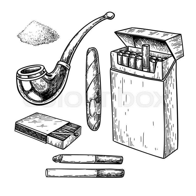 Tobbaco Smoking Vector Drawing Set