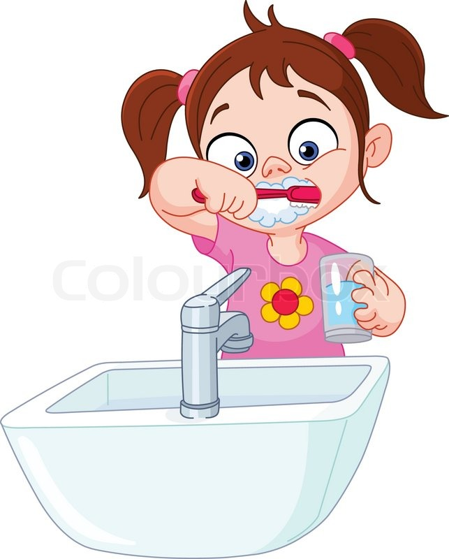 Young Girl Brushing Her Teeth Stock Vector Colourbox