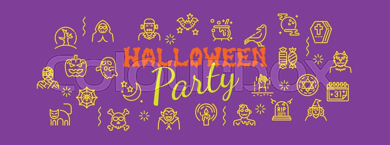 halloween party banner with line icons vector design vector