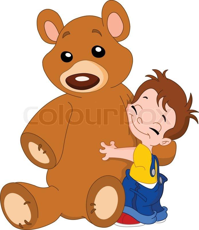Cute kid hugging his big teddy bear | Vector | Colourbox