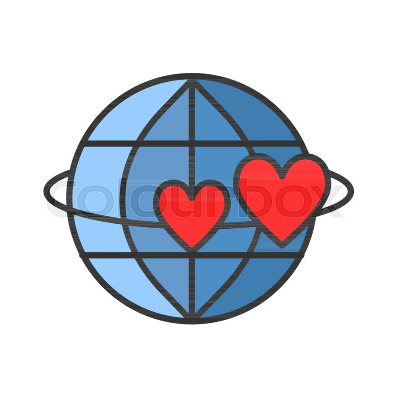 Globe With Heart Thin Line Icon Symbol Of Love And Peace Vector