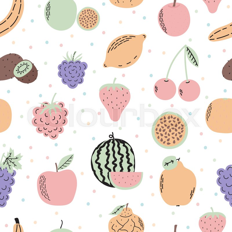 Cute Seamless Pattern With Exotic Stock Vector Colourbox