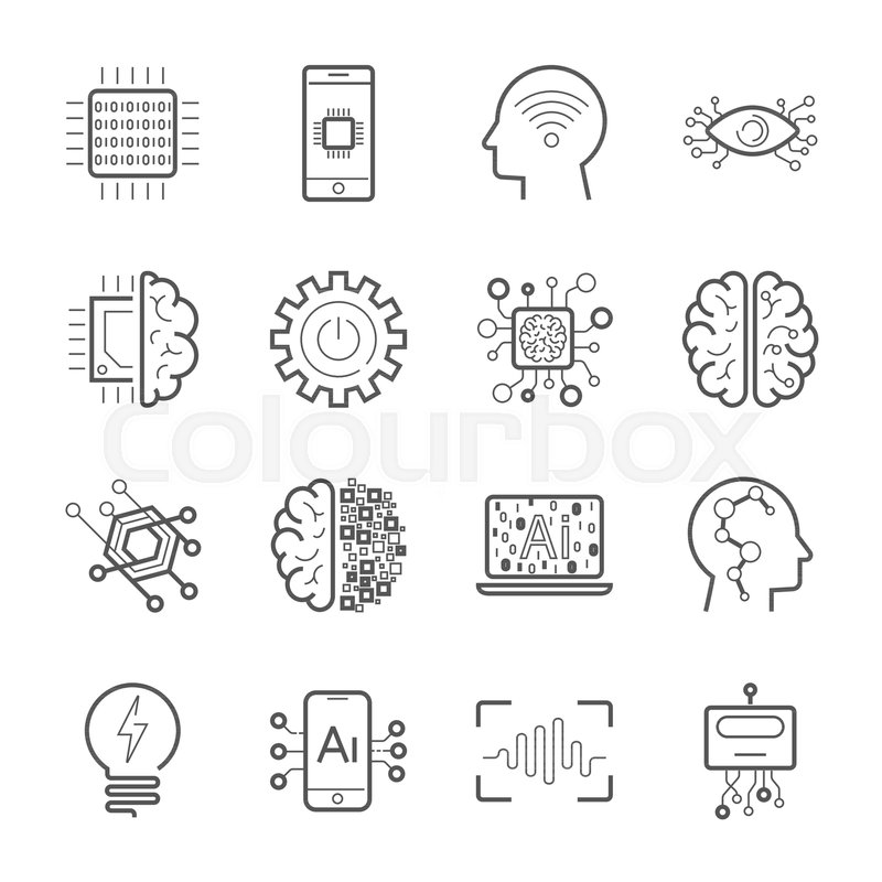 Internet of Things (IOT), Artificial Intelligence (AI), Innovative Smart Cyber Security Digital Information Technologies (IT) Vector Icon Set. Industry 4.0. EPS 10, vector
