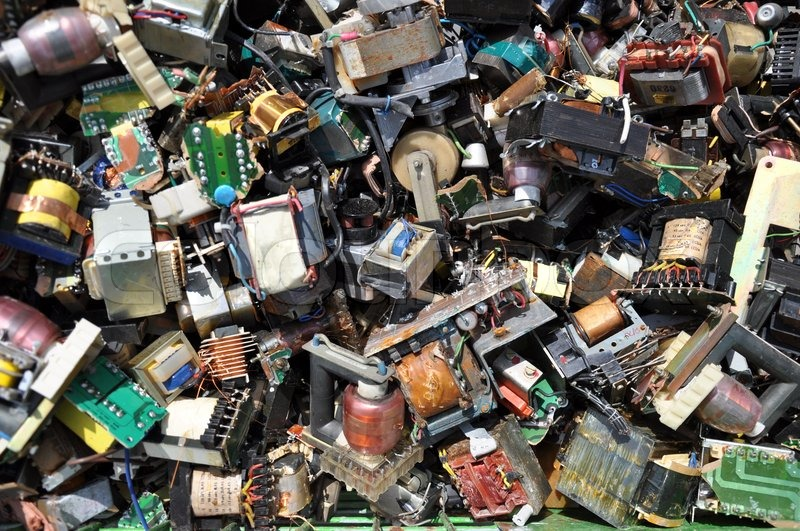 Dump Yard Full Of Old Damaged Electronic Components