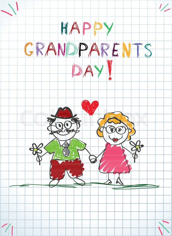Children colorful pencil hand drawn vector greeting card with children colorful pencil hand drawn vector greeting card with grandpa and grandma together holding hands and flowers on notebook sheet background m4hsunfo