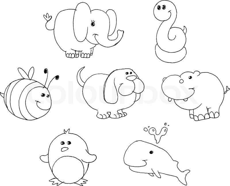 Outlined Animal Doodles Stock Vector Colourbox