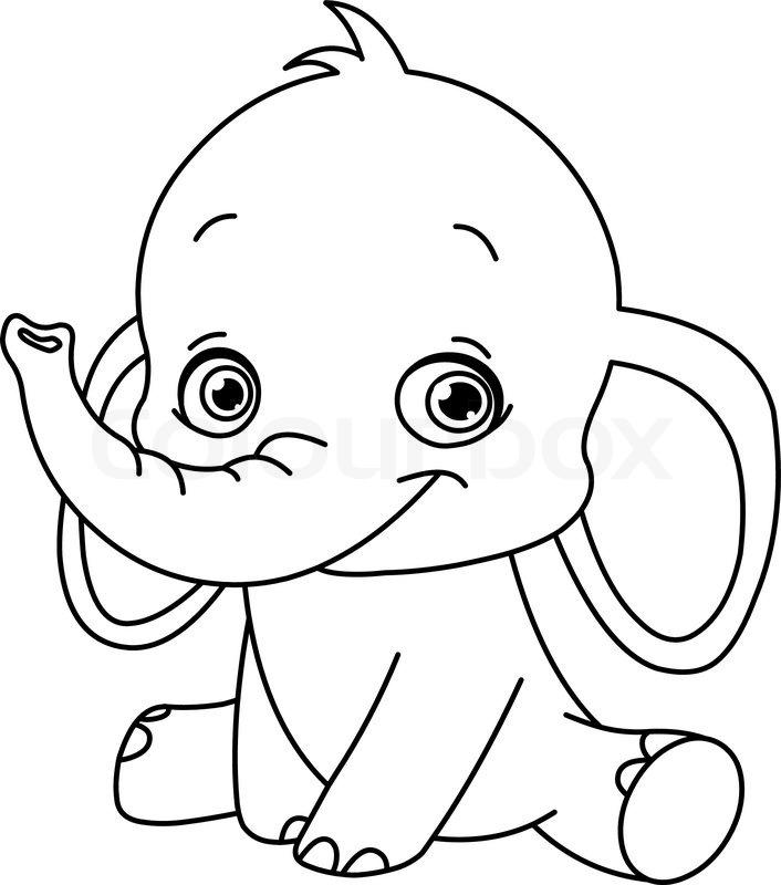 Outlined Elefantenbaby | Vektorgrafik | Colourbox