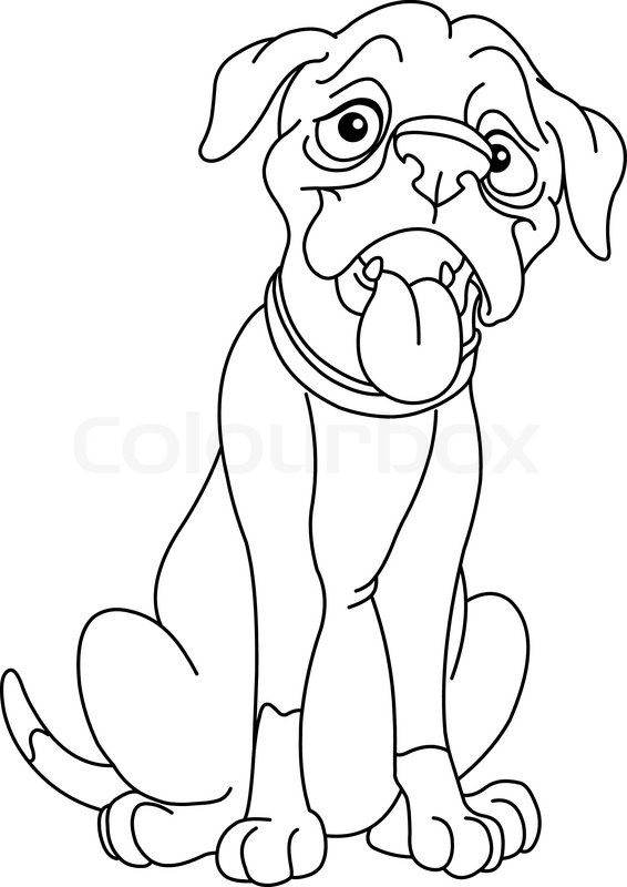 Outlined boxer dog stock vector colourbox for Printable boxer dog coloring pages