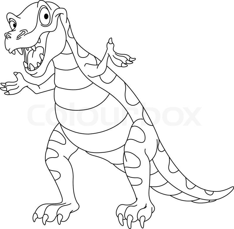 outlined dinosaur  stock vector  colourbox