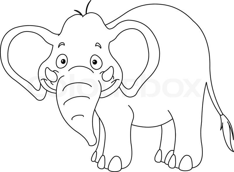 outlined elefant stock vektor colourbox