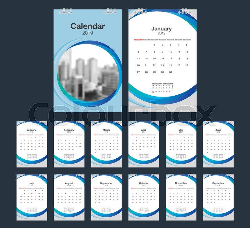 2019 Calendar Desk Calendar Modern Design Template With Place For