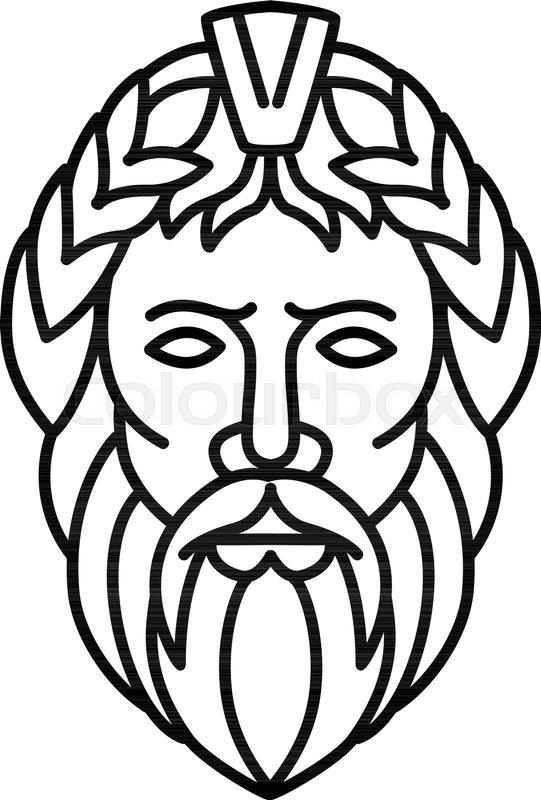 Mono Line Illustration Of Zeus The Stock Vector