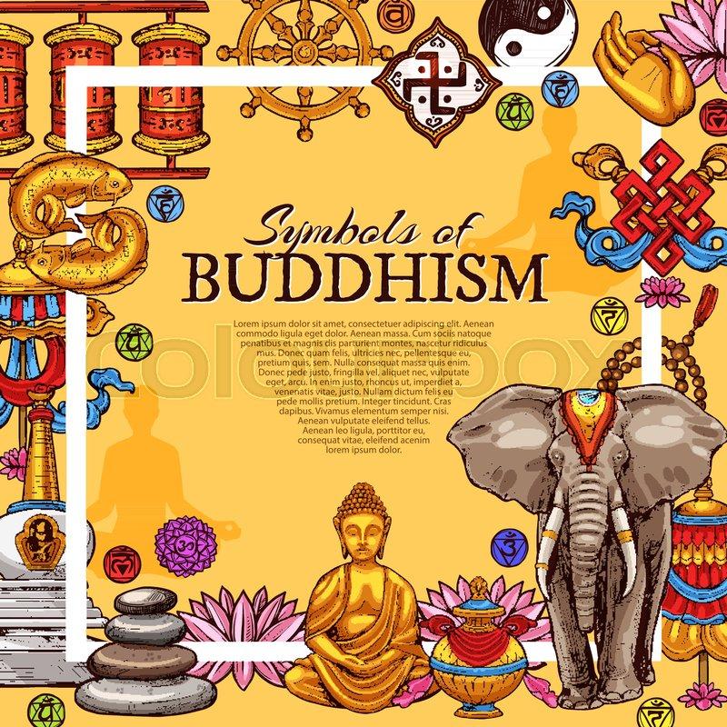 Buddhism Religious Symbols Poster Vector Sketch Design Of Golden