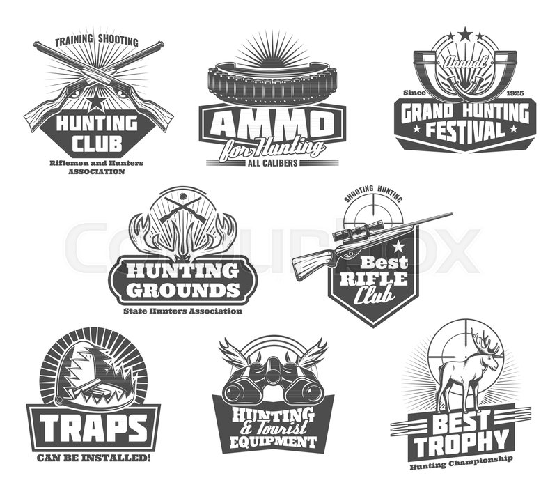 Hunting club badges of hunter     | Stock vector | Colourbox