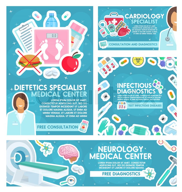 cardiology or neurology clinic and dietetics or infectious disease