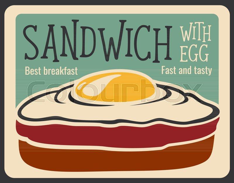 Sandwich retro poster for fast food ... | Stock vector | Colourbox