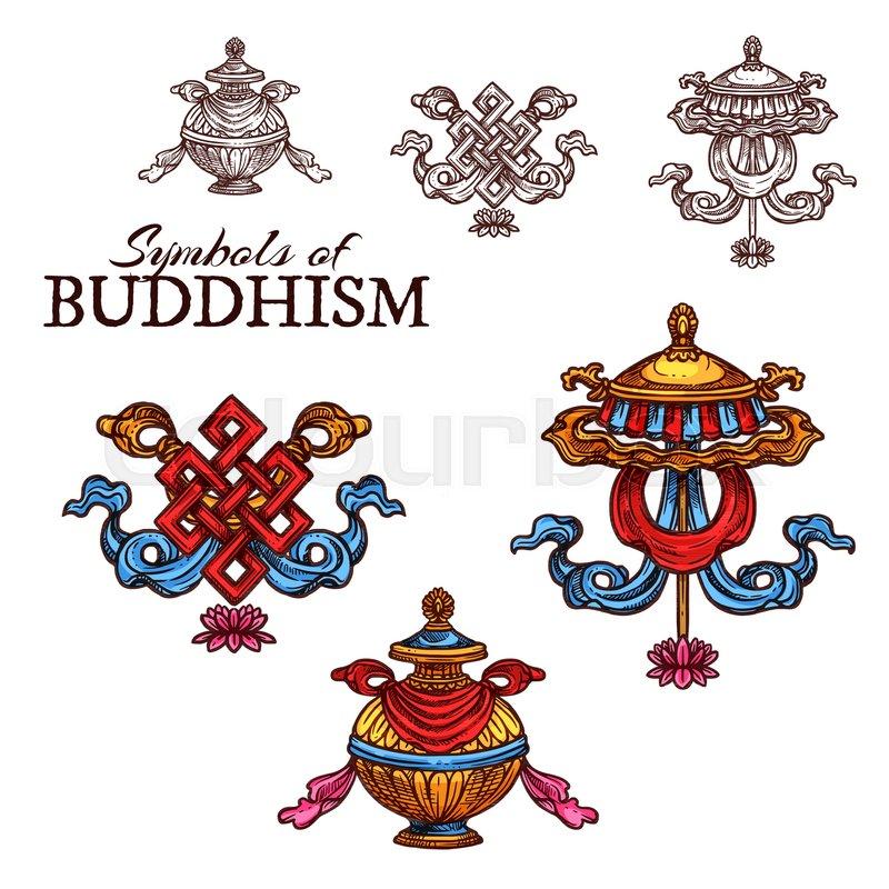 Buddhism Religion Sketch Set With Auspicious Symbols Endless Knot