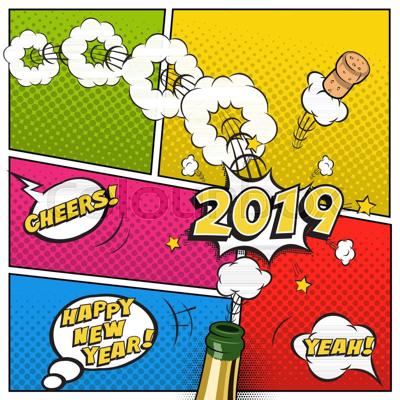 2019 new year postcard or greeting card template vector 2019 new year retro design in comic book style with champagne bottle stock vector colourbox