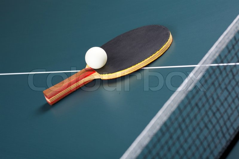 Table tennis ball and racket, stock photo