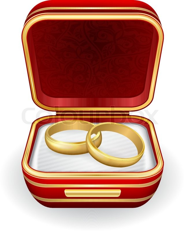 Gold wedding rings in red box. Eps10 | Stock Vector | Colourbox