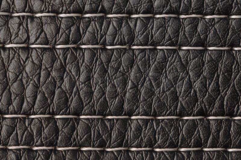 Closeup On A Leather Texture With A Linear Stitch Stock