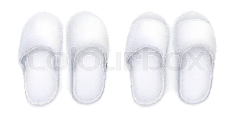 f7369411ac257 Vector. Mock Up. White soft Slippers | Stock vector | Colourbox