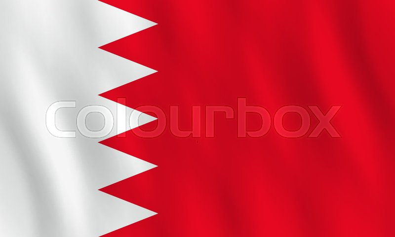 Bahrain Flag With Waving Effect Official Proportion Stock Vector