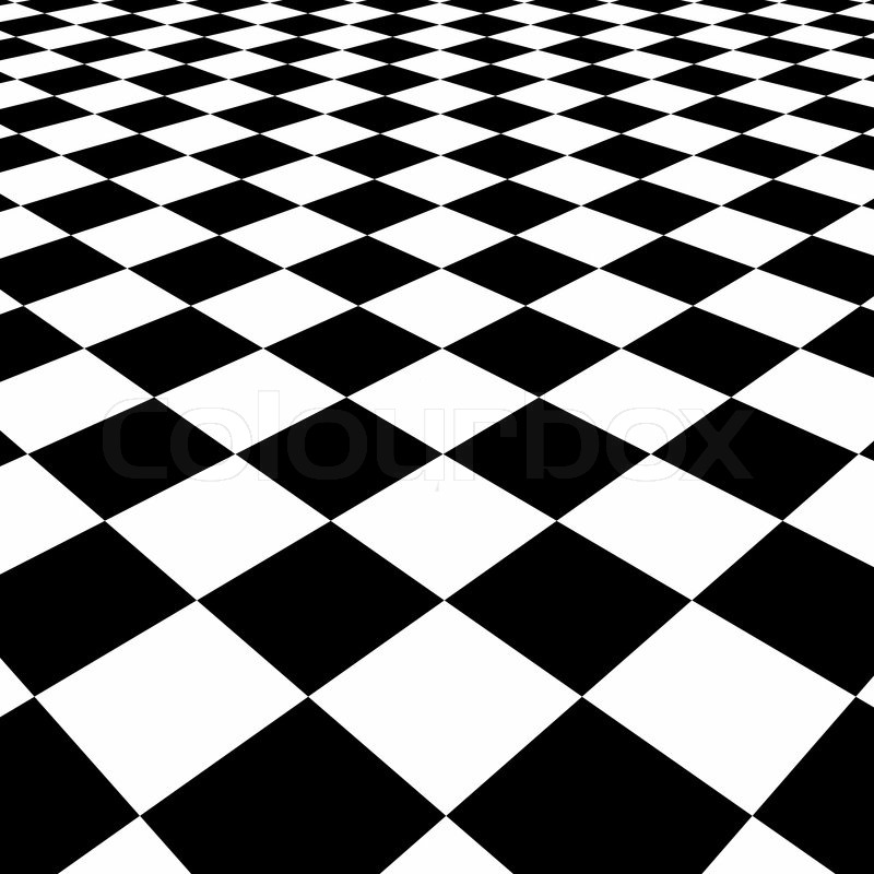 Checkerboard Background Perspective View Stock Photo