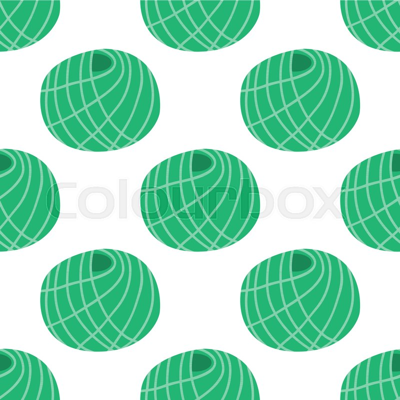 Vector Yarn Ball Seamless Pattern In Flat Style For Print Textile