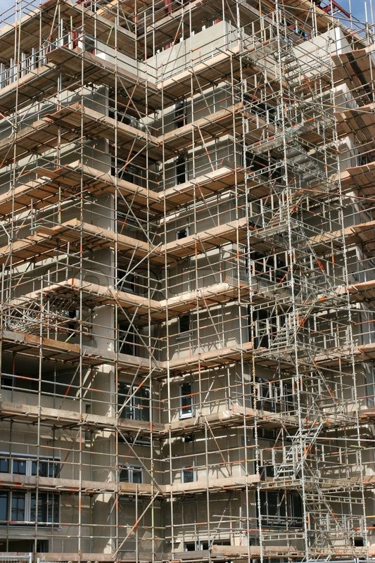 D Front Elevation Of Building : Complex scaffolding on a new skyscraper under building