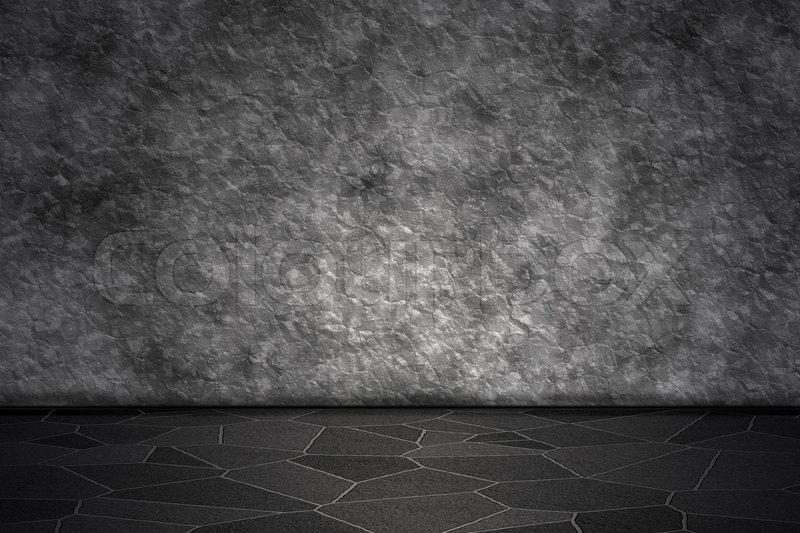 Raum mit rauher Steinwand und Schieferboden | Stockfoto | Colourbox