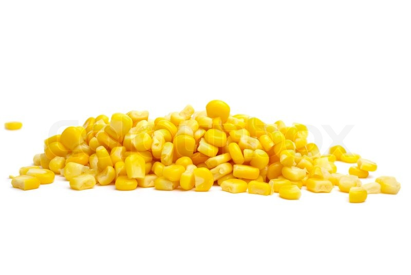 Image of pile of yellow corn grains isolated on the white background