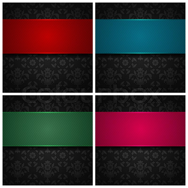 Set Ornament Template Fabric Texture Color Ribbons